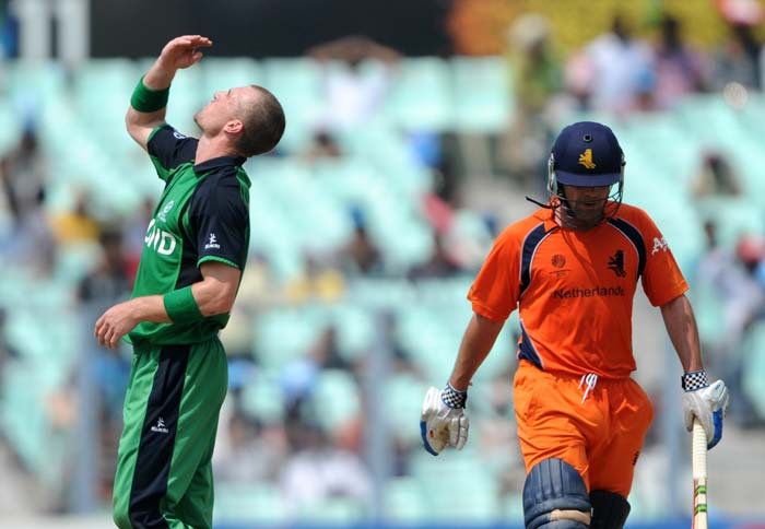 John Mooney reacts after dismissing Peter Borren during the Group B match between The Netherlands and Ireland in the World Cup 2011 tournament at the Eden Gardens in Kolkata. (AFP Photo)