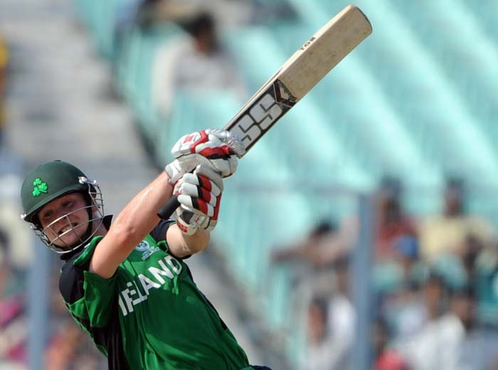 Paul Stirling plays a shot during the Group B match between The Netherlands and Ireland in the World Cup 2011 tournament at the Eden Gardens in Kolkata. (AFP Photo)