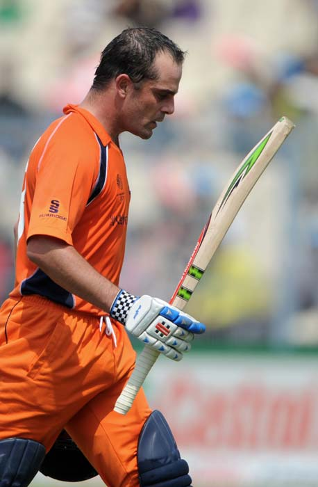 Peter Borren reacts as he returns to the pavilion after his dismissal for 84 runs during the Group B match between The Netherlands and Ireland in the World Cup 2011 tournament at the Eden Gardens in Kolkata. (AFP Photo)
