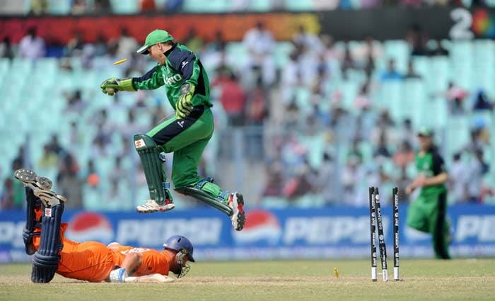 Niall O'Brien celebrates the dismissal of Mudassar Bukhari during the Group B match between The Netherlands and Ireland in the World Cup 2011 tournament at The Eden Gardens in Kolkata. (AFP Photo)