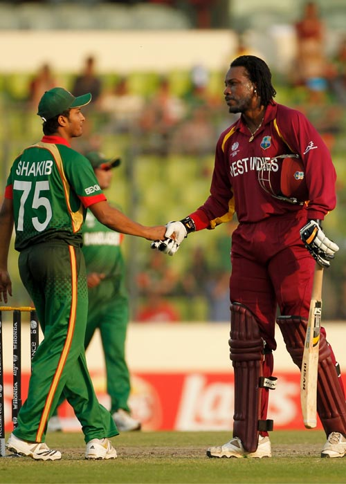 <b>2011: Bangladesh vs West Indies</b><br><br> Co-hosts of the 2011 World Cup Bangladesh were not able to withstand the Caribbean bowlers as they were shot out for 58 runs, the fourth lowest total at the World Cups. West Indies used only three bowlers and Sulieman Benn led from the front by taking 4 wickets.Kemar Roach and Darren Sammy took three wickets each. Roach was adjudged the 'Man of the Match' for picking key wickets. (Getty Images)
