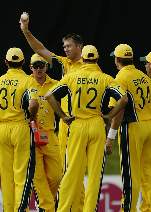 <b>2003: Namibia vs Australia</b><br><br> Defending champions Australia rampaged their way to World Cup glory and Namibia were at the receiving end. They were all out for a paltry 45 runs at the 2003 World Cup. Glenn McGrath was the wrecker-in-chief as he took 7 Namibian wickets for just 15 runs. (Getty Images)