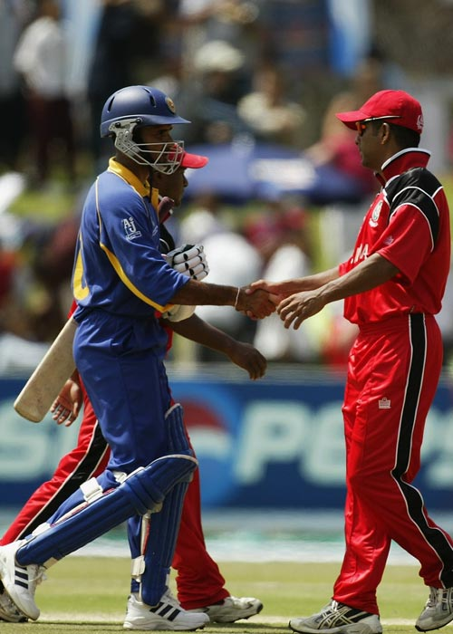 <b> 2003: Canada vs Sri Lanka</b><br><br> Asian giants Sri Lanka bundled out Canada for just 36 runs in the 2003 World Cup with the help of Prabath Nissanka, who took 4 wickets.The Canadian total continues to be the lowest ever in a World Cup. (Getty Images)