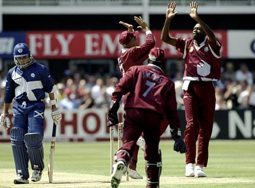 <b>1999: Scotland vs West Indies</b><br><br> West Indies in the 1999 World Cup showed why they were still to be scared of when they bundled out Scotland for 68, with Courtney Walsh & Curtly Ambrose sharing 5 wickets between them. (Getty Images)