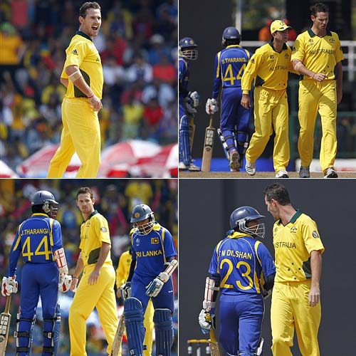 Aussie speedster Shaun Tait and Sri Lanka opener Tillakaratne Dilshan squared up in Colombo and Tait won hands down. Dilshan edged through the slips to enrage the fiery Tait. The Sri Lankan then pulled away from the crease just as Tait went into his next delivery stride, before the speedster had his man next ball, courtesy of a slip catch.