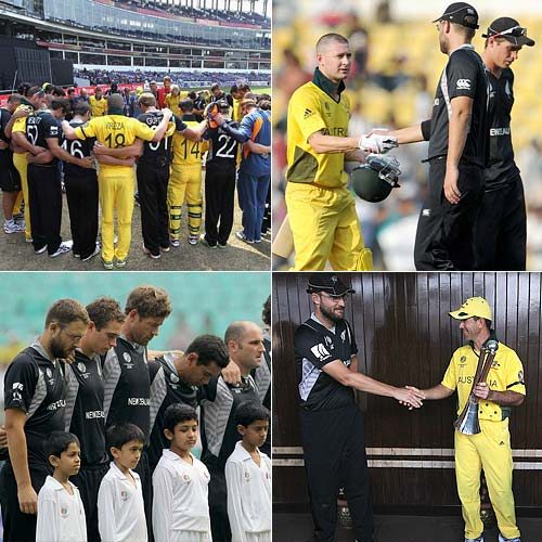 "Australia and New Zealand players stood shoulder to shoulder and observed a minute's silence in Nagpur on February 25 in honour of the Christchurch earthquake victims. ""We are neighbours and brothers,"" said Australia skipper Ricky Ponting."