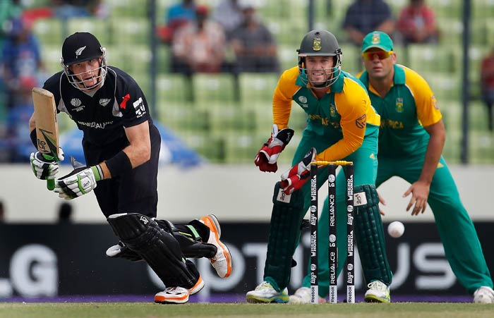 Martin Guptill bats as AB de Villiers keeps wicket during the 2011 ICC World Cup quarter final match between New Zealand and South Africa at the Sher-e-Bangla National Stadium in Dhaka. (Getty Images)