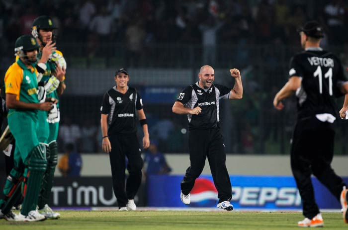 Luke Woodcock celebrates after taking the wicket of Morne Morkel to win the game during the 2011 ICC World Cup quarter final match between New Zealand and South Africa at the Sher-e-Bangla National Stadium in Dhaka. (Getty Images)