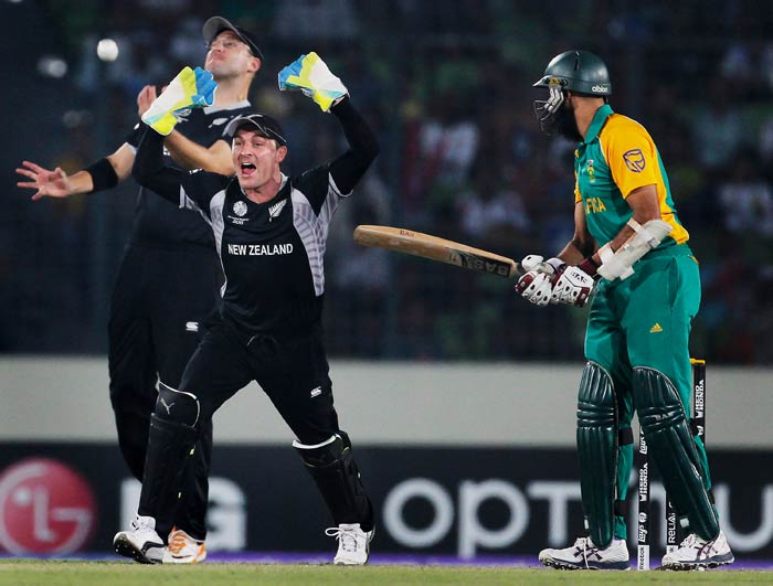 Daniel Vettori celebrates with teammate Brendon McCullum after taking the catch to dismiss Hashim Amla off the bowling of Nathan McCullum during the 2011 ICC World Cup quarter final match between New Zealand and South Africa at the Sher-e-Bangla National Stadium in Dhaka. (Getty Images)