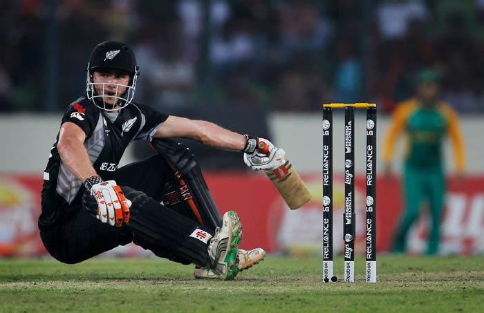 Kane Williamson loses his balance while batting during the 2011 ICC World Cup quarter final match between New Zealand and South Africa at the Sher-e-Bangla National Stadium in Dhaka. (Getty Images)