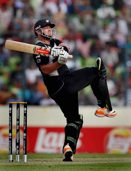 Jesse Ryder bats during the 2011 ICC World Cup quarter final match between New Zealand and South Africa at the Sher-e-Bangla National Stadium in Dhaka. (Getty Images)