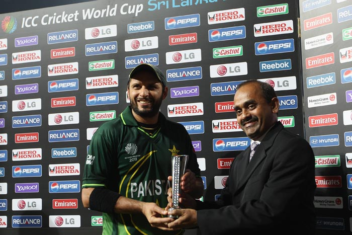 Pakistan skipper Shahid Afridi receives the 'Man of the Match' award after his figures of 5-23 against Canada during the 2011 ICC World Cup Group A match at the R. Premadasa Stadium in Colombo. (Getty Images)