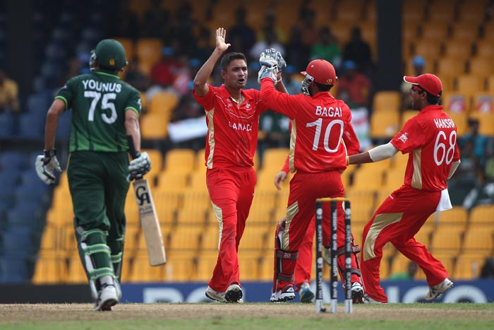 Harvir Baidwan celebrates taking the wicket of Younus Khan during the Canada vs Pakistan 2011 ICC World Cup Group A match at the R. Premadasa Stadium in Colombo. (Getty Images)