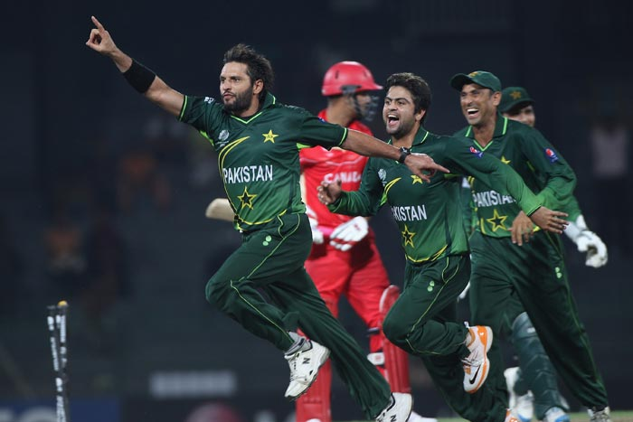 Shahid Afridi celebrates taking the wicket of Harvir Baidwan during the Canada vs Pakistan 2011 ICC World Cup Group A match at the R. Premadasa Stadium in Colombo. (Getty Images)