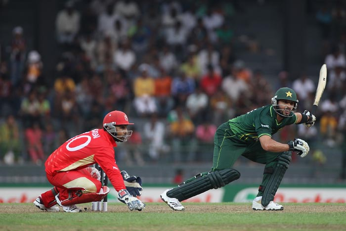 Shahid Afridi hits to the off-side and is caught by Nitish Kumar off the bowling of Rizwan Cheema during the Canada vs Pakistan 2011 ICC World Cup Group A match at the R. Premadasa Stadium in Colombo. (Getty Images)