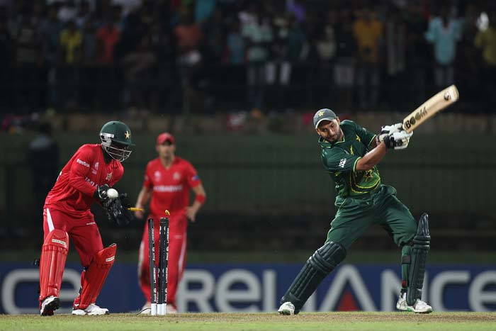 Shahid Afridi is bowled by Ray Price during the Pakistan v Zimbabwe 2011 ICC World Cup Group A match at the Pallekele Cricket Stadium in Kandy. (Getty Images)