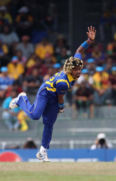 Lasith Malinga in action during the 2011 ICC World Cup quarter final match between Sri Lanka and England at the R. Premadasa Stadium in Colombo. (Getty Images)