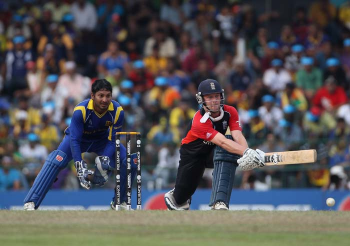 Jonathan Trott plays a reverse sweep during the 2011 ICC World Cup quarter final match between Sri Lanka and England at the R. Premadasa Stadium in Colombo. (Getty Images)
