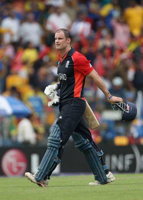Andrew Strauss walks off after his dismissal during the 2011 ICC World Cup quarter final match between Sri Lanka and England at the R. Premadasa Stadium in Colombo. (Getty Images)