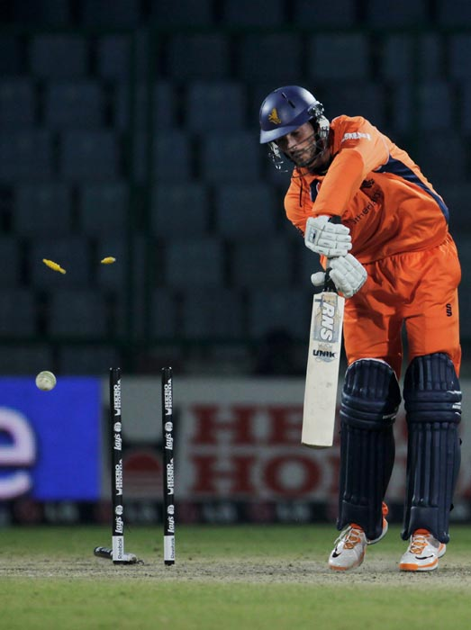 Berend Westdijk of the Netherlands is bowled to complete Kemar Roach's of West Indies hat-trick during the 2011 ICC World Cup group B match at Feroz Shah Kotla stadium in New Delhi. (Getty Images)