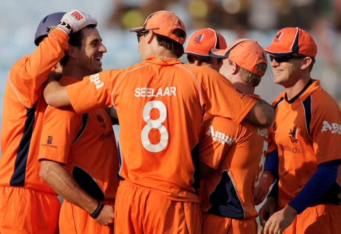 Ryan ten Doeschate celebrates with teammates the wicket of Chris Gayle during the 2011 ICC World Cup group B match between Netherlands and West Indies at Feroz Shah Kotla stadium in New Delhi. (Getty Images)