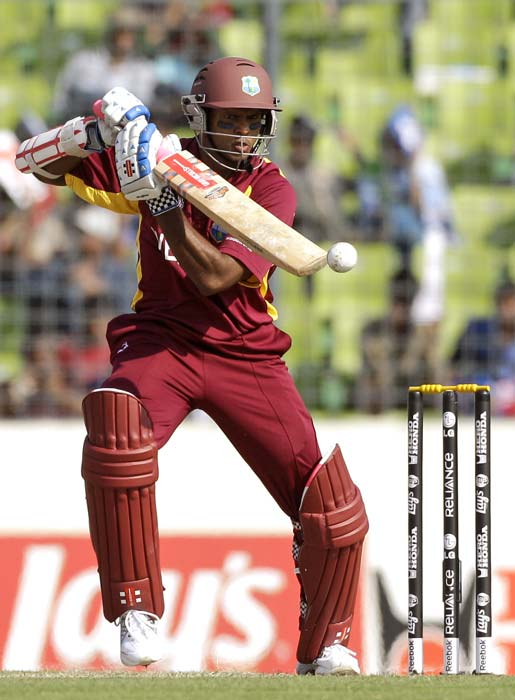 Shivnarine Chanderpaul plays a shot off Wahab Riaz during the ICC World Cup quarter-final match between Pakistan and West Indies at the Sher-E-Bangla National Stadium in Dhaka. (AP Photo)