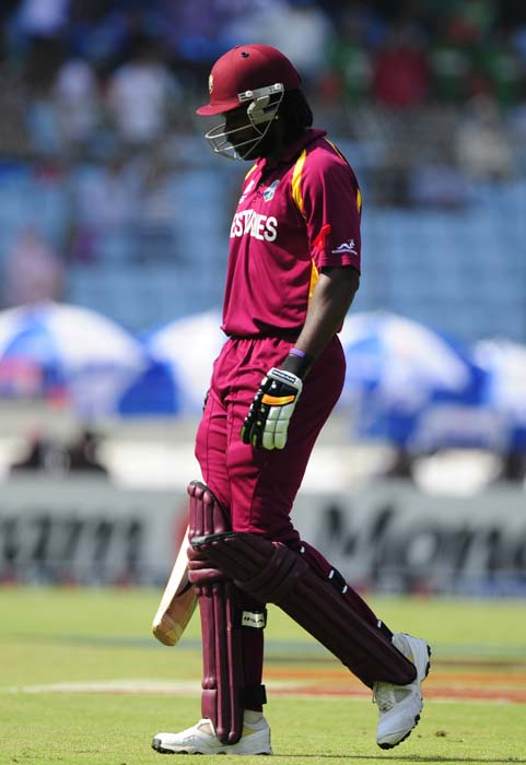 Chris Gayle leaves field after his dismissal during the ICC World Cup quarter-final against Pakistan at the Sher-e Bangla National Stadium in Dhaka. (AFP Photo)