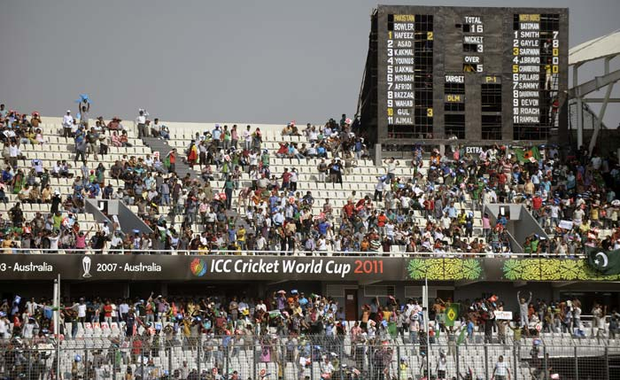 Spectators watch from the stands during the ICC World Cup quarter-final between Pakistan and the West Indies at the Sher-e Bangla National Stadium in Dhaka. (AFP Photo)