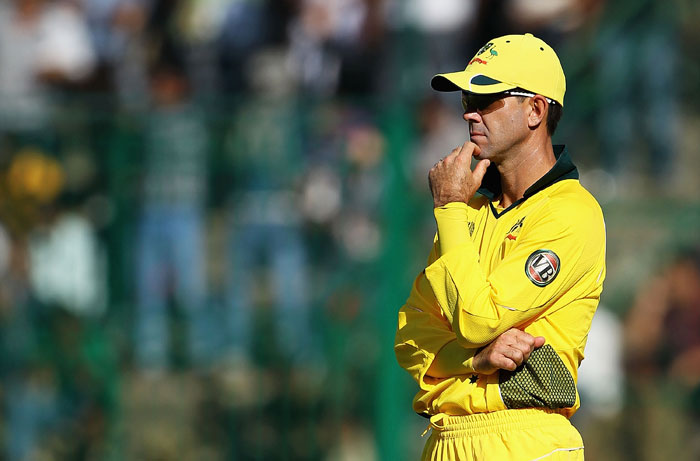Ricky Ponting looks on during the 2011 ICC World Cup warm-up game between India and Australia at the M. Chinnaswamy Stadium in Bangalore. (Getty Images)
