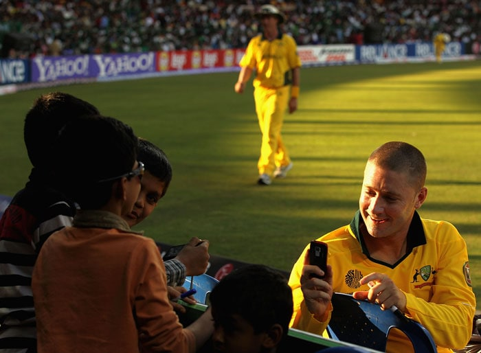 Michael Clarke meets some local fans during the 2011 ICC World Cup warm-up game between India and Australia at the M. Chinnaswamy Stadium in Bangalore. (Getty Images)