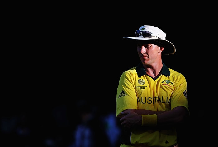 Brett Lee looks on during the 2011 ICC World Cup warm-up game between India and Australia at the M. Chinnaswamy Stadium in Bangalore. (Getty Images)