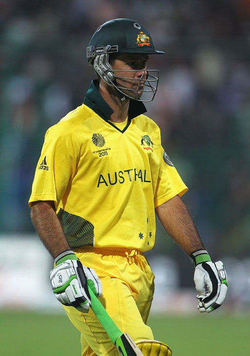 Australian skipper Ricky Ponting walks off after he was stumped by MS Dhoni during the 2011 ICC World Cup warm-up game between India and Australia at the M. Chinnaswamy Stadium in Bangalore. (Getty Images)