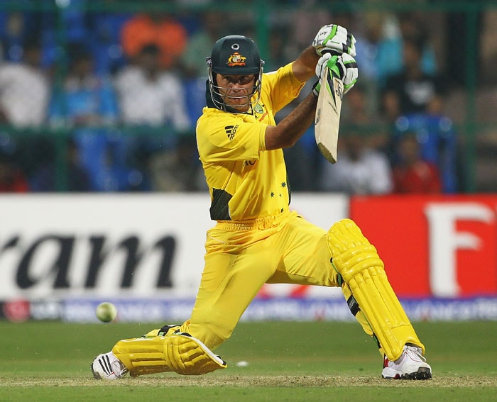 Ricky Ponting edges the ball away towards the boundary during the 2011 ICC World Cup warm-up game between India and Australia at the M. Chinnaswamy Stadium in Bangalore. (Getty Images)