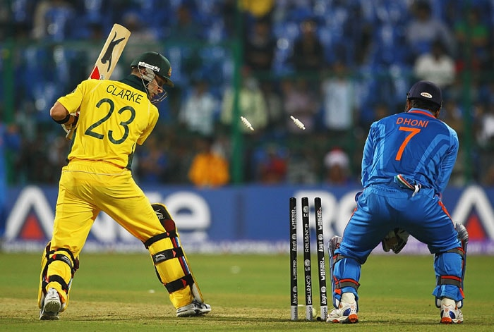 Michael Clarke of Australia looks on after he was bowled by Piyush Chawla during the 2011 ICC World Cup warm-up game between India and Australia at the M. Chinnaswamy Stadium in Bangalore. (Getty Images)