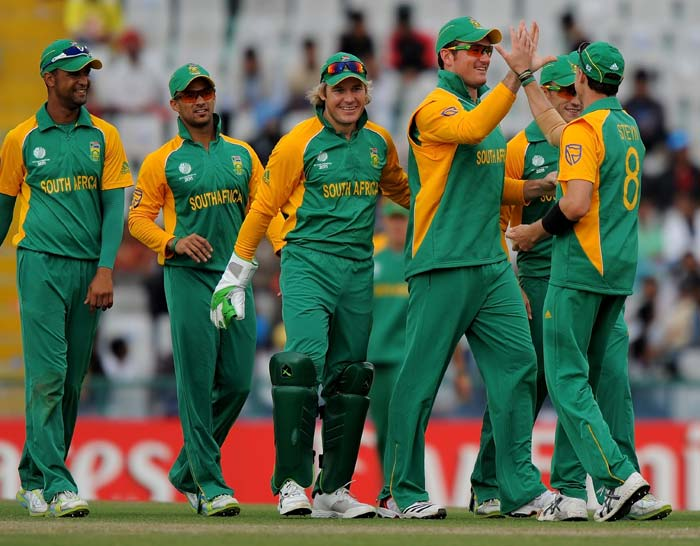 It was celebrations galore for South Africa after they registered a massive 231-run win over the Netherlands with the Dutchmen being bundled out for only 120. (AFP Photo)