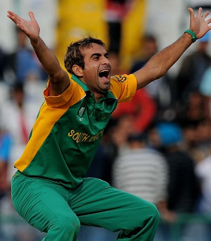 South Africa's latest bowling weapon Imran Tahir was again the pick of the bowlers with 3 wickets. The spinner was the lucky one to wrap it up for the Proteas as he got the last wicket of Berend Westdijk. (AFP Photo)