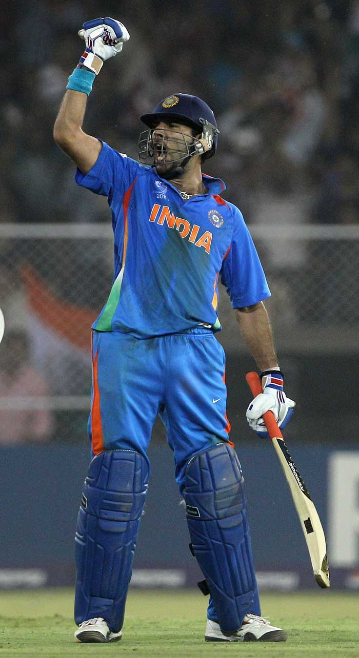<b>Yuvraj Singh (362 runs)</b><br><br> The man from Punjab had faced much criticism whie coming into the World Cup, but he proved all his critics wrong with performances that earned him the Man of the Tournament award. (Getty Images)