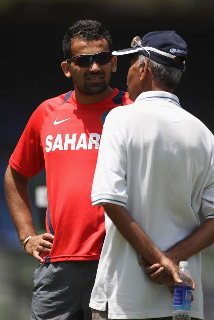 India's Zaheer Khan talks to pitch curator Sudhir Naik during the India nets session. (Getty Images)