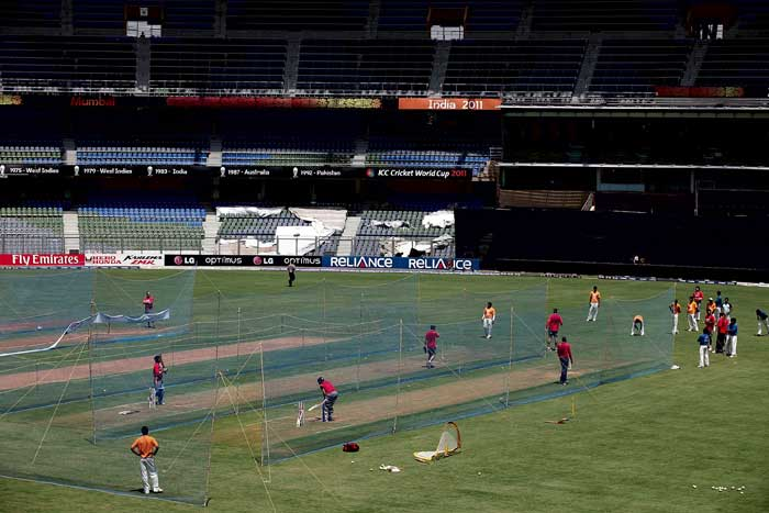 Team India practise for the World Cup final at the Wankhede Stadium in Mumbai. (Getty Images)