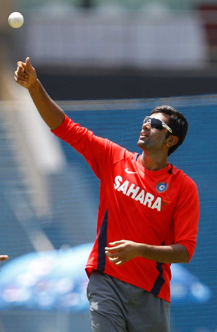 Ravichandran Ashwin during the net session at the Wankhede Stadium. (AP Photo)