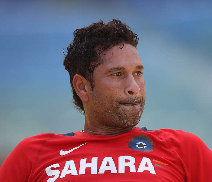 Sachin Tendulkar takes a breather during a practice session at the Wankhede stadium in Mumbai. (Getty Images)