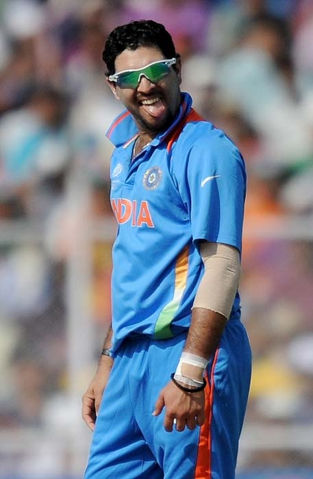 Yuvraj Singh gestures during the World Cup quarter final match between Australia and India at the Sardar Patel Stadium in Ahmedabad. (AFP Photo)
