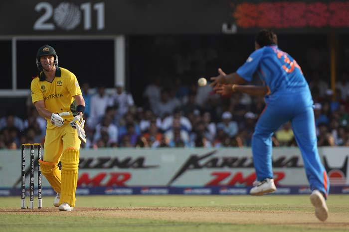 Cameron White is caught and bowled by Zaheer Khan during the 2011 ICC World Cup quarter final match between Australia and India at the Sardar Patel Stadium in Ahmedabad. (Getty Images)