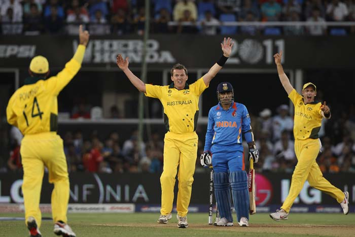 Brett Lee, Ricky Ponting and Mike Hussey appeal for the wicket of Virender Sehwag during the 2011 ICC World Cup quarter final match between Australia and India at the Sardar Patel Stadium in Ahmedabad. (Getty Images)