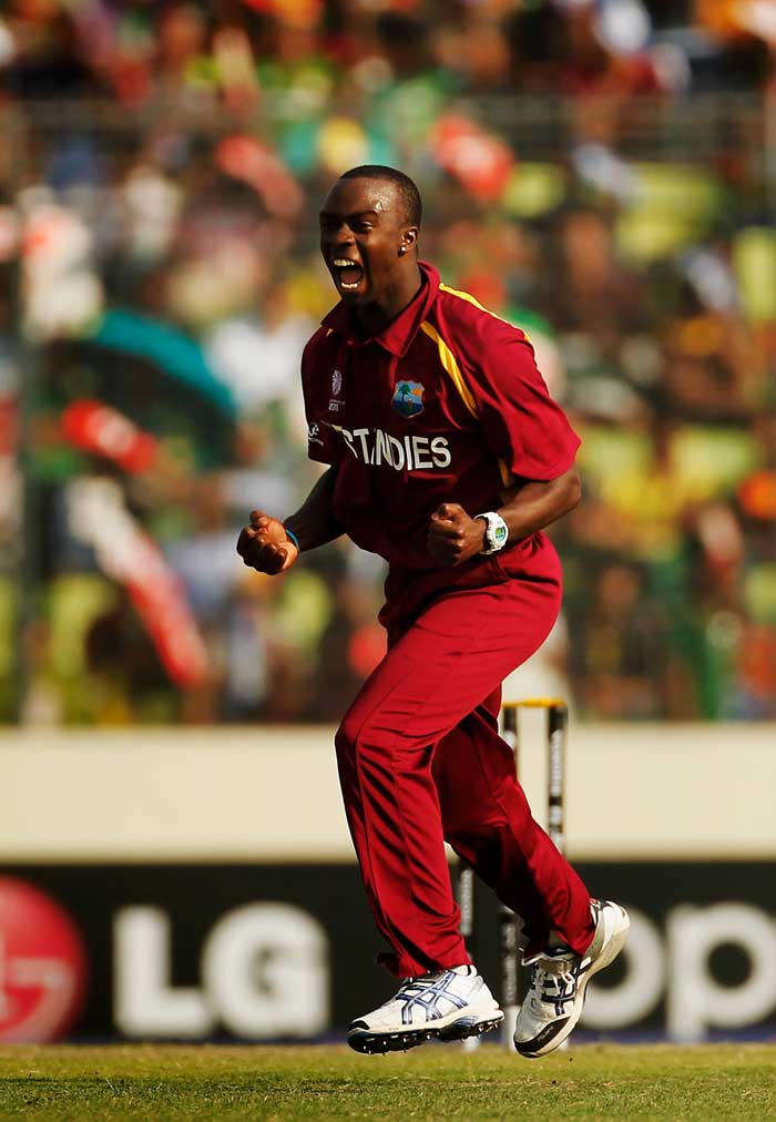 <b>Kemar Roach (13 wickets) </b><br><br> Kemar Roach was as unpredictable as The West Indies' campaign, which is the reason why they displayed such contrasting performances. Taking 13 wickets off 6 matches, Kemar Roach was the ninth leading wicket-taker of the tournament with a hat-trick under his belt. (Getty Images)