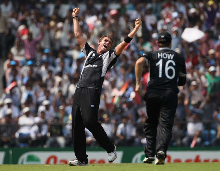 <b>Tim Southee(18 wickets) </b><br><br> Tim Southee never had an exceptional match throughout the World Cup but his consistency earned him 18 wickets from the 8 matches he played. (Getty Images)