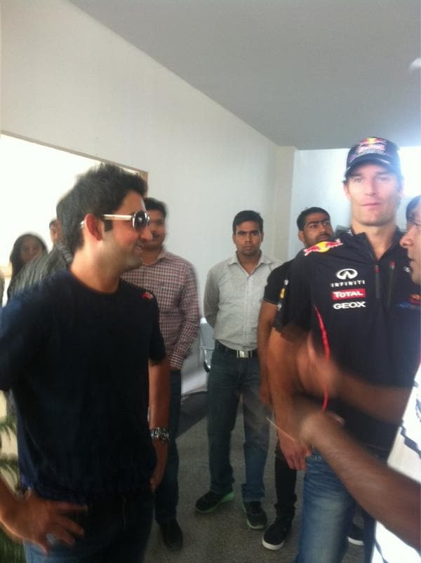 Red Bull driver Mark Webber met Indian cricketer Gautam Gambhir and the Australian took a few lessons in how to charge the bowler with a bat and whack the ball with power. Take a look (Image courtesy: Twitter)
