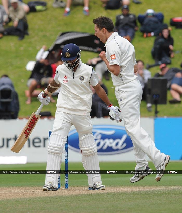 Trent Boult and Tim Southee were too at the start of the fourth innings, when India were set a 435-run target. Dhawan fell for two and Murali Vijay fell for seven, increasing hopes of the Kiwis to score a win.