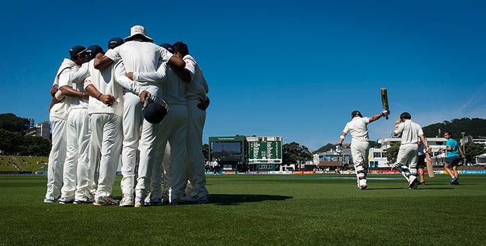 Team India needed some inspiration at the start of the day on Monday with Brendon McCullum and BJ Watling firm at the crease with the hosts leading the visitors by slender 6 runs after Day 3. MD Dhoni called for a team huddle before stepping on to the field of play. All images from AP and AFP.