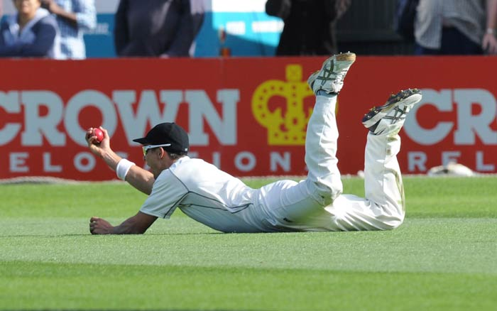 A brilliant knock was ended in an incredible fashion as Trent Boult took a stunning one-handed diving catch running in from sweeper cover to get rid of Ajinkya Rahane.